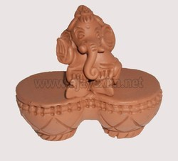 Clay Brown Modern Two Tabala Ganesh Statue