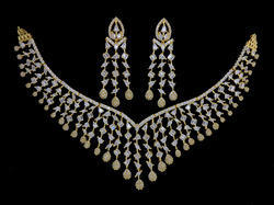 Modern Diamond CZ Necklace (Indiacz), Occasion: Wedding