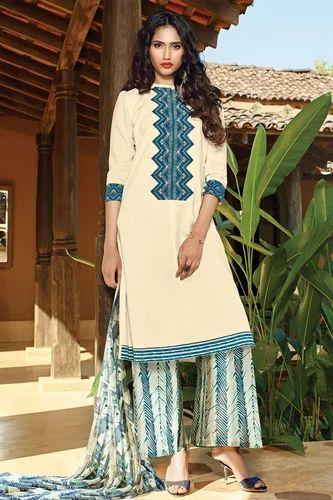Cotton Formal Wear Ganga Plazzo Salwar Kameez Unstitched Rs 1590