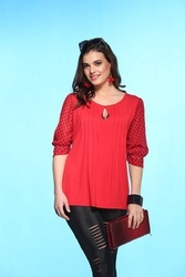 Cotton Printed ST 1651 Red Trendy Top