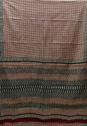 Bagru Print Cotton Saree - Green