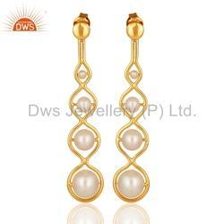 Designer Gold Plated Natural Pearl Earring