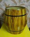 Wooden Finish Drum Shaped Barrel Planter