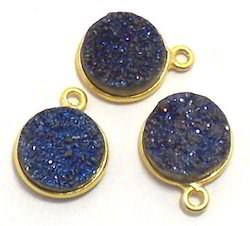 Titanium Blue Druzy Round Gemstone Connector