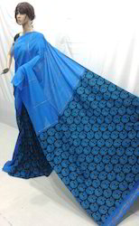 Casual Wear Cotton Khesh Peacock Printed Saree, With Blouse Piece