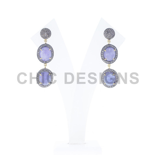 Chic Designs Tanzanite Silver Diamond Earrings, Size: 47x13 Mm