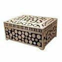 Cream Collectors Corner Camel Bone Inlaid Cash Box