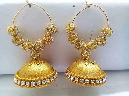 13bf24ae6 Golden Color Silk Thread Jhumkas - Brinda Creations, Bengaluru   ID ...