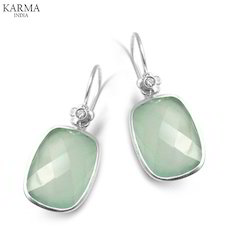 Designer Sterling Silver Earrings with Aqua Chalcedony