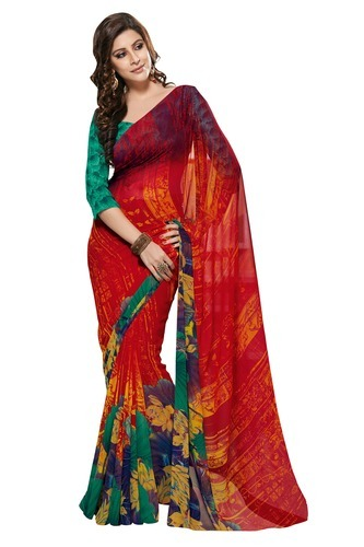 e5cc67eed5 Daily Wear Sarees - Prafful Chiffon Multicolor Printed Saree ...