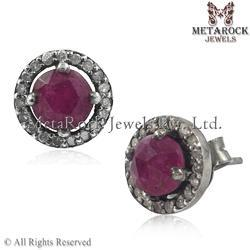 Ruby Diamond Stud Earring