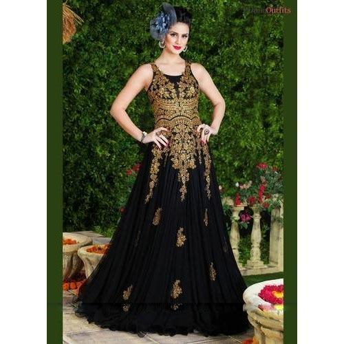 ce1c62a747a Western Black Net Designer Gown