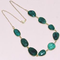 925 Sterling Silver Green Dyed Emerald Bezel Set Gemstone Necklace