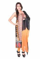 Formal Wear Black & Orange Georgette Embroidered Salwar Suit