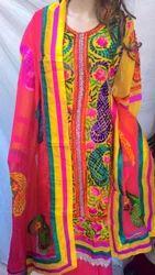 Designer Semi Stitched Georgette Embroidered Suit