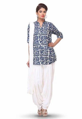 Printed Cotton Punjabi Suit In Blue And White Cotton Salwar Kameez Women Cotton Suit Cotton Suit Cotton Suits For Women À¤² À¤¡ À¤œ À¤• À¤Ÿà¤¨ À¤¸ À¤Ÿ Vinod Textiles Jodhpur Id 12352042697
