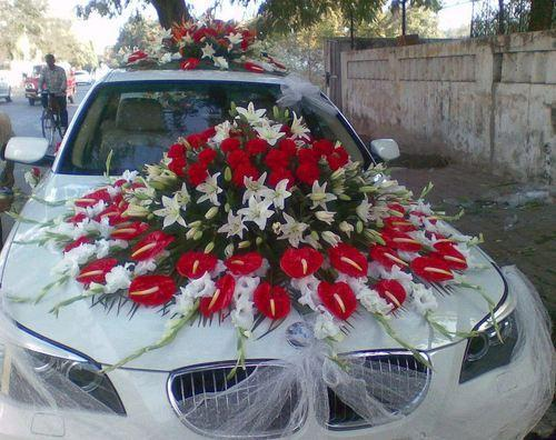 Wedding car decoration services wedding car front side decoration flower car decoration junglespirit Image collections