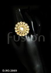 American Diamond Studded Antique Finger Ring