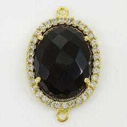 Black Onyx Oval Shape CZ Set Connector