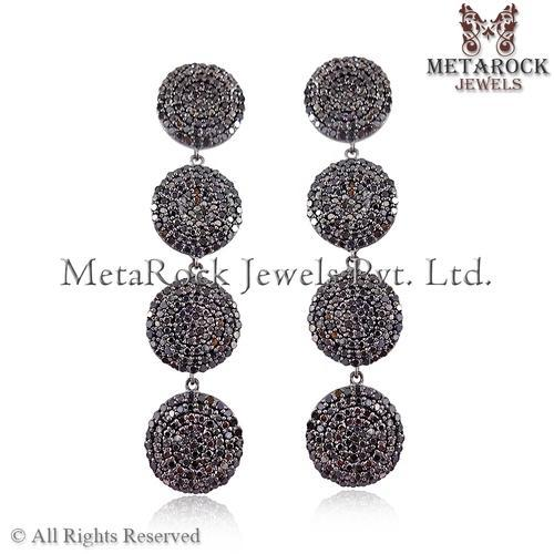 Four Disc Pave Diamond Earring