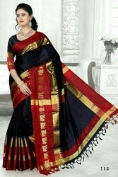 Party Wear Printed Semi Silk Sarees, Construction Type: Machine