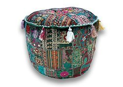 Cotton Multi Pouf, Round Patchwork Embroidered Ottoman Cover
