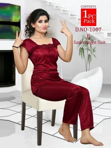 9b236031c Plain Night Suits Satin Night Wear Fancy Night Suit
