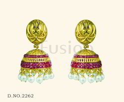 Traditional Antique Ruby Pearl Wedding Earring
