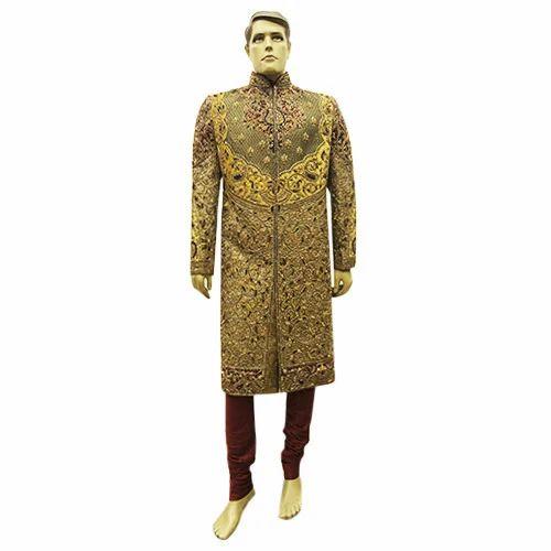 10aba56b6c2 Mens Golden Brocade Wedding Sherwani