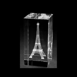 3D Laser Engraving Eiffel Tower Crystal Cube