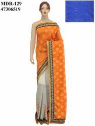 Ethnic Bollywood Orange With Off White Saree