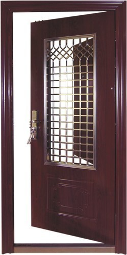 Etonnant Wood Brown Safety Door   Design For Flat