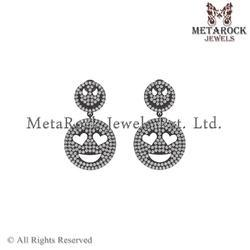 Designer 92.5 Sterling Silver Diamond Earring