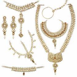 Golden Zinc Alloy Dulhan Necklace Set with Stone