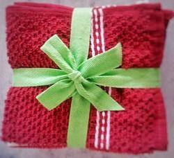 Red Microfiber Hand Towel Set, Poly Bag, Square