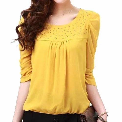 0485e82ae8bc19 Yellow Cotton Ladies Plain Top