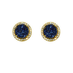 Druzy Pave Set Stud Earring