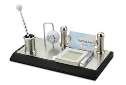 Desk Clock with Pen Stand and Card Holder