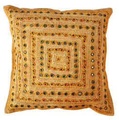 Yellow Mirror Embroidery Hand Work Cotton Cushion Cover Set, Size: 16 X 16 Inch