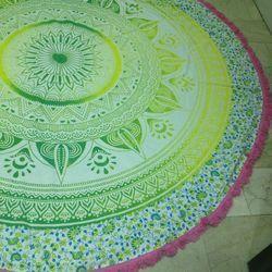 Beach Round Mandala Round Tapestry