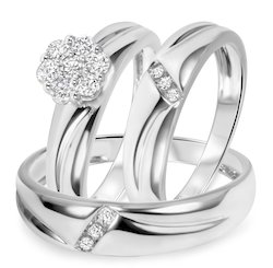 Trio Ring Set In 10k White Gold