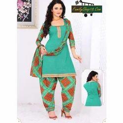 Cotton Printed Unstitched Patiala Suit