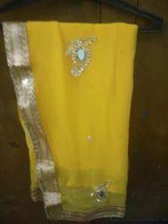 Yellow Chiffon Designer Sarees
