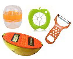 Kawachi 4 pc Kitchen Tool Lemon Juicer and Pourer, Apple Cutter, Vegetable Peeler, Grater