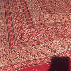 Ajrakh Print Kantha Work Bedcover