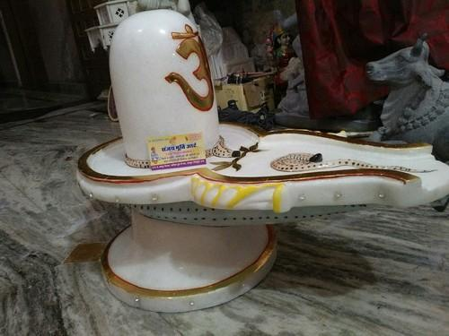 White Marble Shivling Statue White Marble Shivling