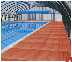 Red Swimming Pool Rubber Flooring