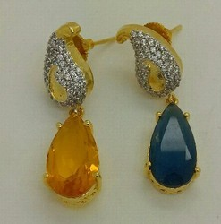 Color Stone Studded Earring