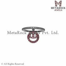 Prong Setting Diamond Ruby Gemstone Silver Ring