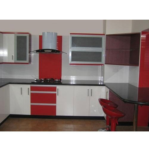 Red And White Teak Wood Modular Kitchen Cupboard, Rs 360